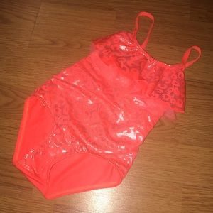 Other - Toddler Girl Orange Shimmer One-Piece Swimsuit EUC